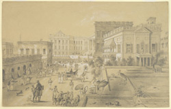View of part of the principal entrance to Government House from Wellesley Place, Calcutta